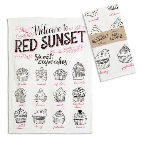 Sweet Cupcake tea towel perfect for a cottage or farmhouse kitchen