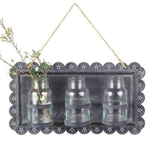 Tin and Glass Hanging Vases