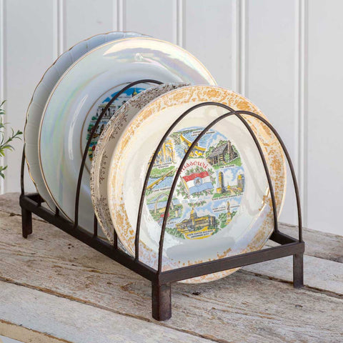 Vintage Inspired Metal Tabletop Plate Display Rack. It could also be used to organize file folders or mail in the home office.