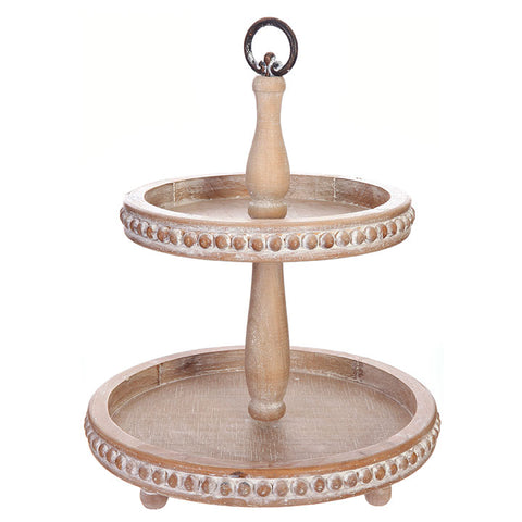 Rustic yet refined Farmhouse or Cottage Wooden Two Tiered Tray with Beaded Detail