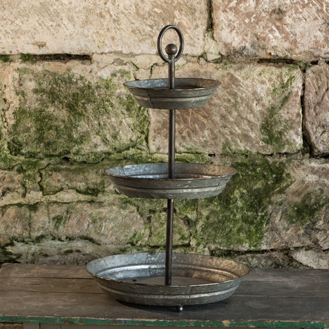 The Houston Galvanized Three Tiered Metal Tray