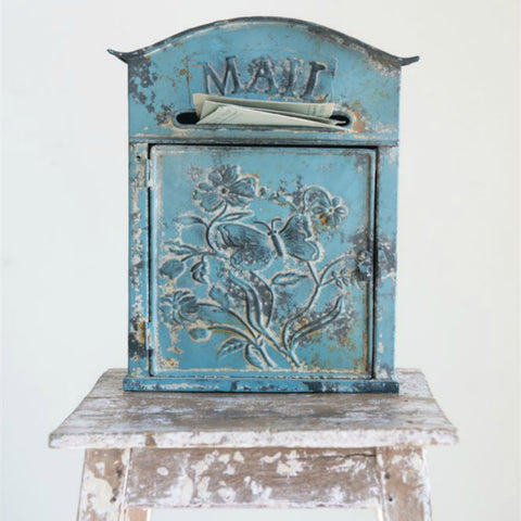 Turquoise Embossed Metal Mailbox