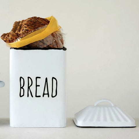 White Enameled Modern Country Style Bread Box with Lid