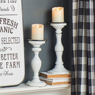 Farmhouse Style Distressed White Enamel Candleholder Set of Two