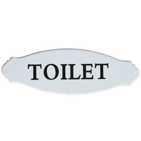 Vintage Inspired White Enamel Decorative Toilet Sign