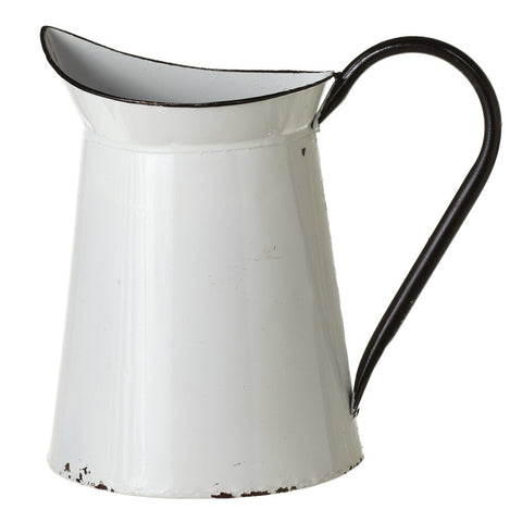 Vintage Inspired Painted Enamel Wall-Pocket Metal Pitcher
