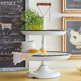 Painted enamel finish two tier serving tray with rustic wooden handle