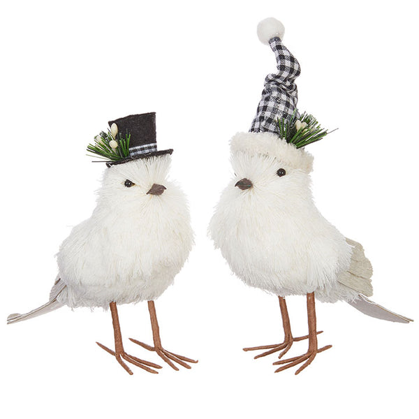 Snowy Birds with Hats - Set of Two