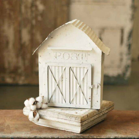Whimsical White Metal Barn Mailbox perfect for a farmhouse or country cottage