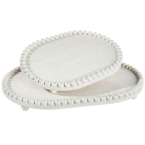 White painted beaded wooden serving trays