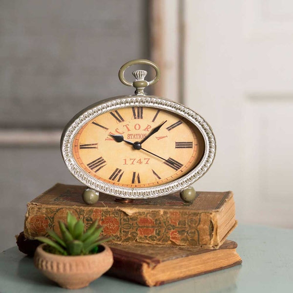 White Vintage Inspired Farmhouse or Cottage Style Tabletop Clock