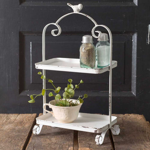 white metal two tier farmhouse tray with metal robin topper