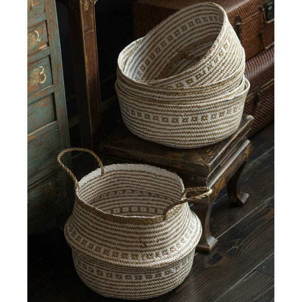Handwoven Collapsible Storage Basket - Natural/White