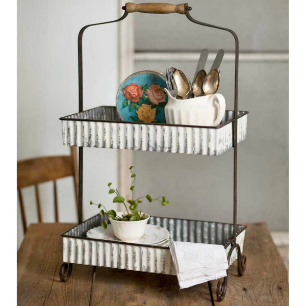 Corrugated Metal Two Tier Caddy
