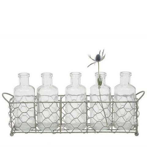 Farmhouse Style Chicken Wire Holder with 5 Glass Bottles Vases