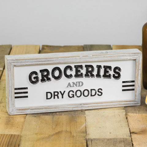 Wood Framed Groceries and Dry Goods Sign