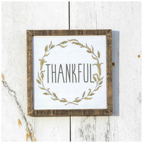 Rustic Wood Framed Thankful Fall or Autumn Wall Sign