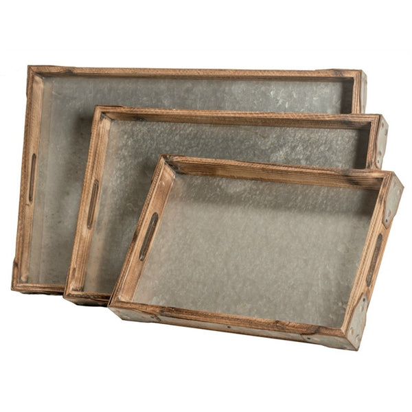 Wood and Metal Rectangular Trays - Set of Three
