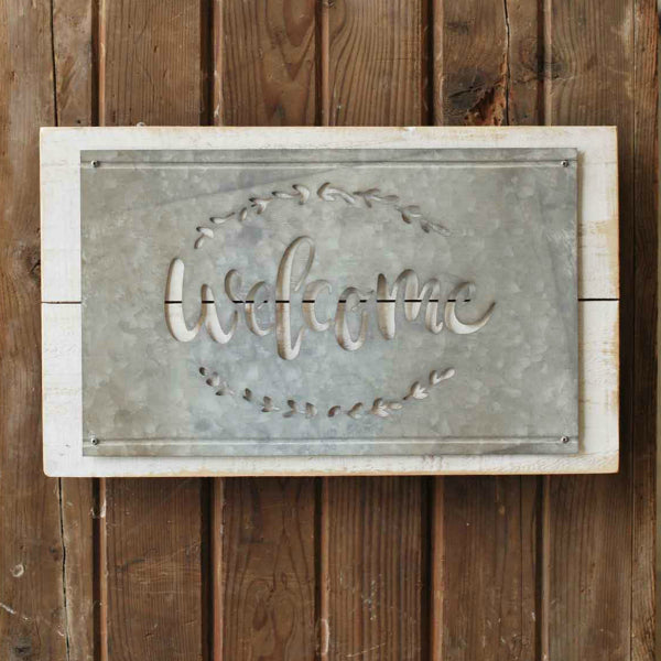 Welcome wood and metal Farmhouse Style Wall Decor Sign