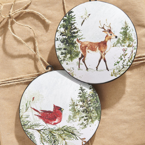Woodland Animals Ornaments - Set of Two