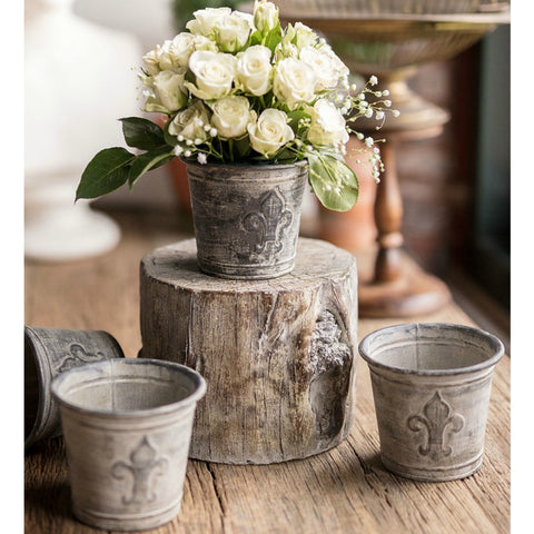Metal Fleur De Lis Flower Pot - Set of Two