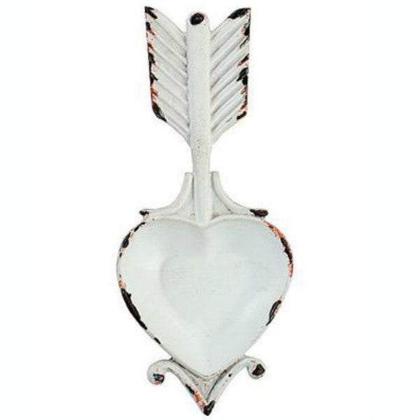 heart and arrow pewter jewelry dish with white distressed finish