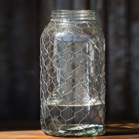 Rustic farmhouse glass and chicken wire wrapped canning jar