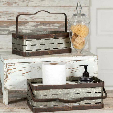 rustic metal farmhouse style rectangular olive buckets or baskets