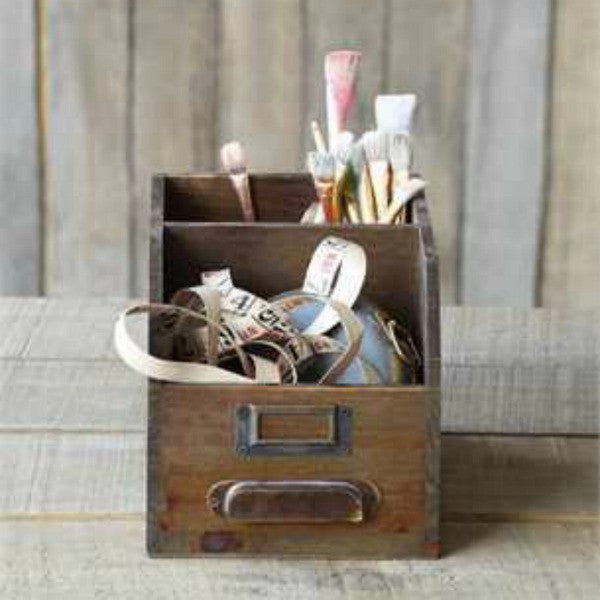 rustic_wooden_two_compartment_organizer farmhouse style