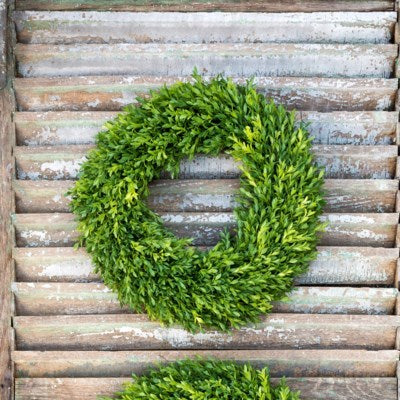Faux Boxwood wreath perfect for a front door or entryway