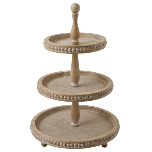 Rustic yet refined Farmhouse or Cottage Wooden Three Tiered Tray with Beaded Detail