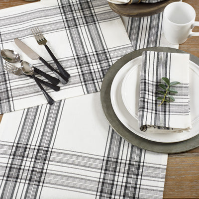 Black and White Plaid Holiday Table Runner