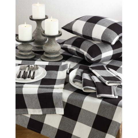 White and Black Buffalo Check Holiay Table Runner in Classic Pattern