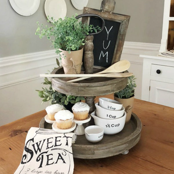 The Charleston Wooden Two Tier Tray Vintage Farmhouse Finds