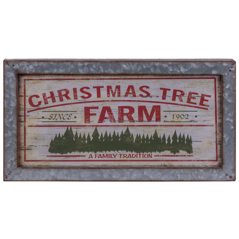 Christmas Tree Farm Wall Sign with Galvanized Metal Frame