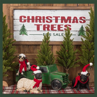 """Christmas Trees for Sale"" Wood Wall Decor Sign with Rustic Wood Frame"