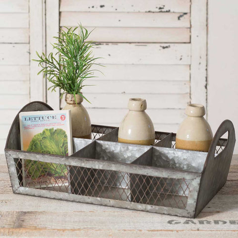 Galvanized Metal Divided Farmhouse Caddy