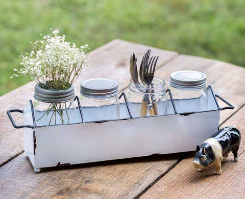 Enamel Kitchen Caddy with four glass jars