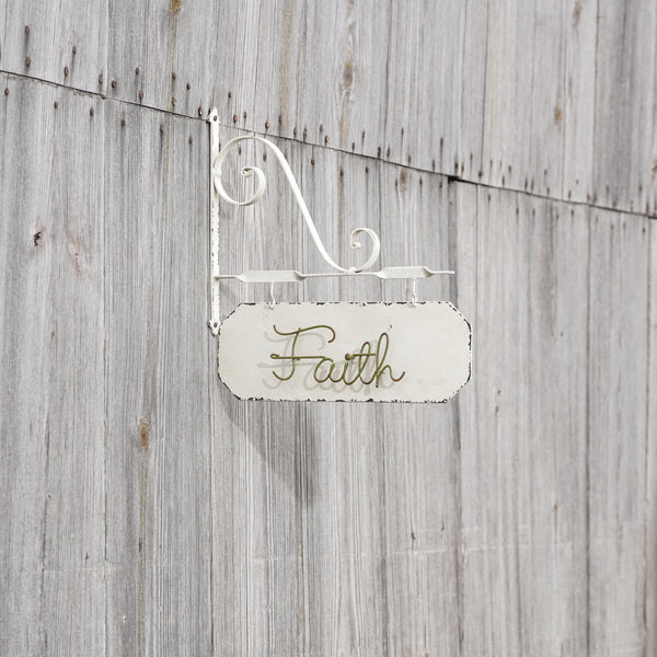 "Metal Hanging ""Faith"" Wall Sign with Metal Bracket"