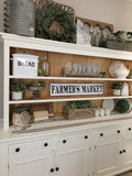 Enamel Farmers Market Black and White Embossed farmhouse or country cottage Sign