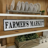Farmers Market Metal Sign Distressed to look like a vintage enamel sign