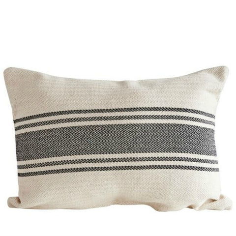 French Grain Sack Style Pillow with Black Stripes
