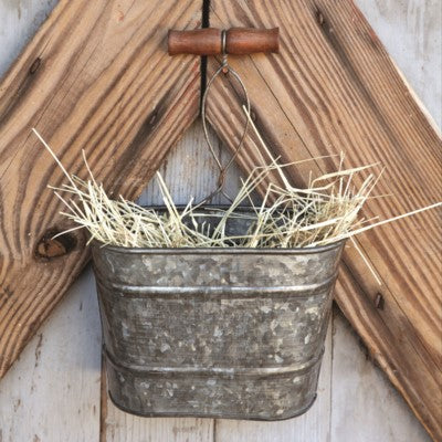 Galvanized Metal Hanging Bucket Planter or Organizer for any farmhouse or cottage patio or porch