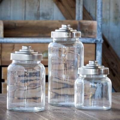 Glass Apothecary Jars with Metal Lids