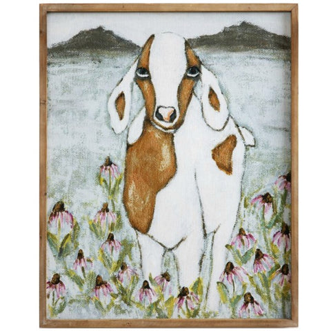 Gracie Jo Goat Wooden Framed Canvas Wall Art