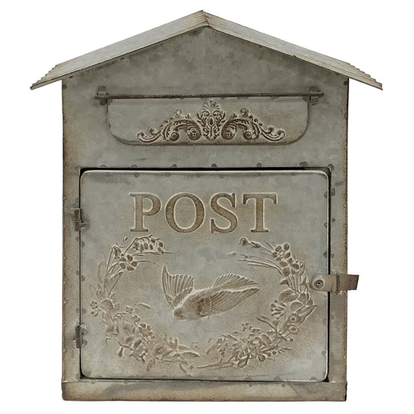 "Embossed Gray Metal ""Birdhouse"" Mailbox"