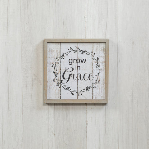 Grow in Grace Wood Framed Wall Sign