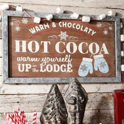 Winter Holiday Hot Cocoa Rustic Lodge Wall Decor Sign