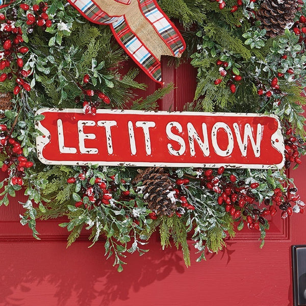 "Metal Holiday Sign resembling a vintage Street Sign and reading ""Let it Snow"". Perfect for a country cottage, cozy cabin or festive farmouse."
