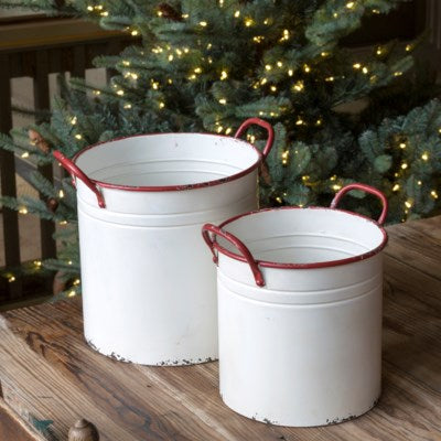 White Painted Metal Planters with Red Trim Inspired by vintage enamelware